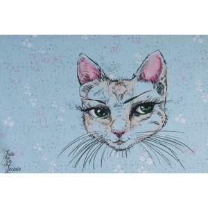 panneau Jersey Bio Mademoiselle Chat par tante Gisi pour Lillestoff