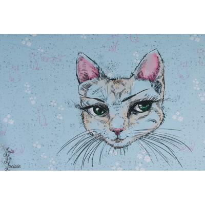 panneau Jersey Bio Mademoiselle Chat par tante gisi lillestoff