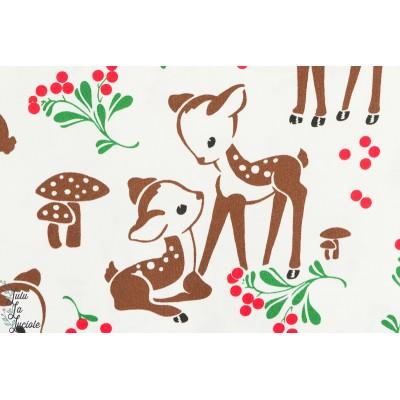 Tissu coton popeline Bambis bruns, Michael Miller