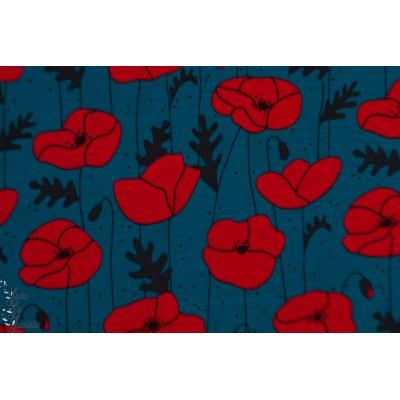 Modal Poppies pétrol Lillestoff Bora fleur coquelicot femme bleu