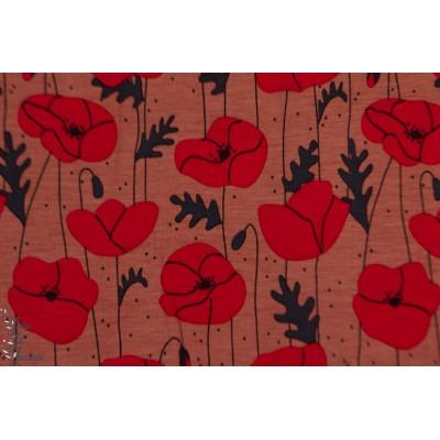 Modal Poppies Coral lillestoff bora coquelicot fleur rouge