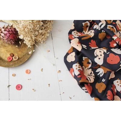 Viscose Atelier brunette Poésie Blue fleur abstrait moderne mode femme automne