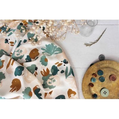 Viscose Atelier Brunette Poésie green abstrait fleur automne mode femme couture