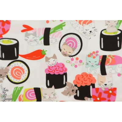 Popeline AH Kitty Rolls chat sushi japon alexander henry coton patch