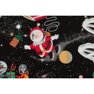 Popeline Alexander Henry Santa in space black