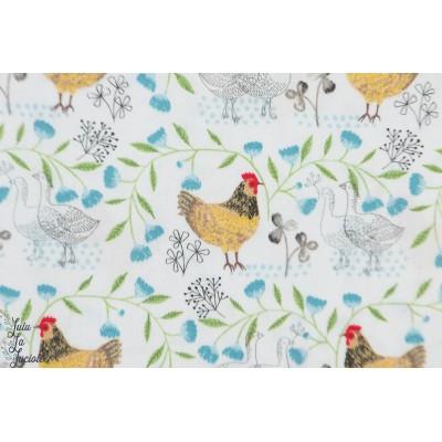 Popeline 3 Whishes farm fresh poule ferme animaux graphique