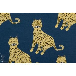 jersey Bio Elvelyckan Leopard dark Blue tigre bleu félin animaux graphique bleu