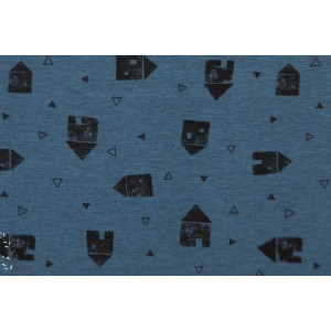 Tissu Jersey Mélangé City Houses katia fabric graphique maison bleu