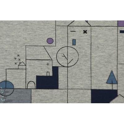 Tissu molletonné ou pour sweat-shirt architecte graphique ville maison katia fabric