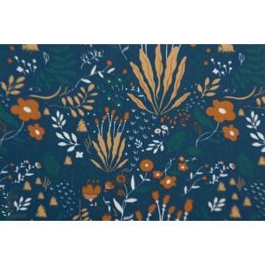 Tissu Popeline Wild Flowers bleu