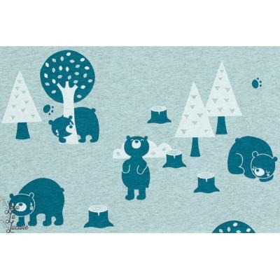 Tissu coton Jersey Bio Bears meliert , Ours lillesoft