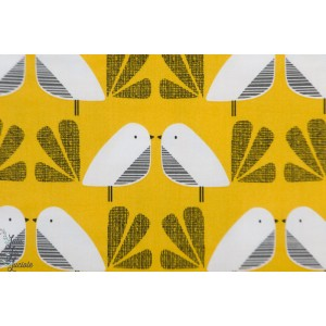 Popeline Birds Mustard NEST 1411 Nesting bird dashwood studio oiseau jaune moutarde graphique