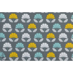 Popeline Flowers Multi Charcoal NEST 1412 Dashwood Studio graphique gris