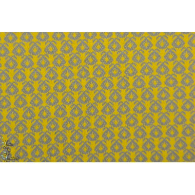 Jacquard Bio Lime Fruit Lillestoff graphique pull jaune