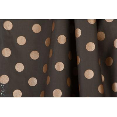 Popeline fine - gros pois - dark shadows marron bronze cpauli