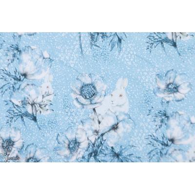Winterwelt, Summersweat Bio Lillestoff lapin fleur neige bleu tante gisi