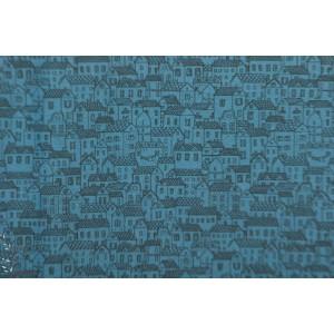 popeline Little town Bleu maison village graphique indigo fabric