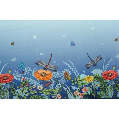 Jersey double Bordure Stenzo fleurs et libellule  bleu