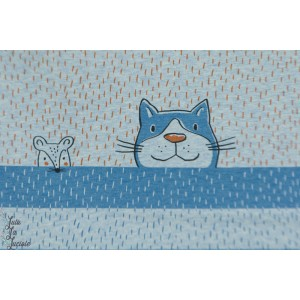 Panneau jersey bio Tigerkatze Bleu tigre chat souris animaux susalabim lillestoff