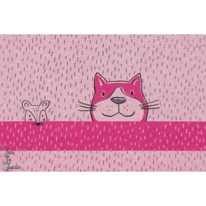 Panneau jersey Bio tigerkatze Himber SUSAlabim Lillestoff chat souris rose
