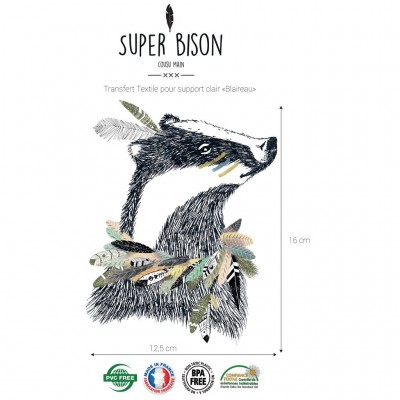 Transfert  textile SUPER BISON Blaireau - couture -customisation -