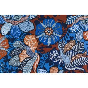 Popeline Bali Bazaar Michael Miller wax fleur marron bleu
