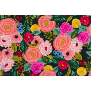 Rayon Cotton Steel Navy Juliet rose
