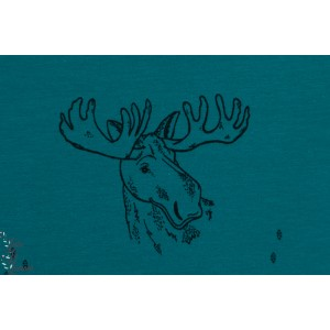 Sweat Bio Bloome Funky Moose Bleu pétrole renne cerf animaux graphique
