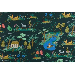 Popeline Cotton Steel dark navy Garden jardin anglais louisane paysage rifle paper co