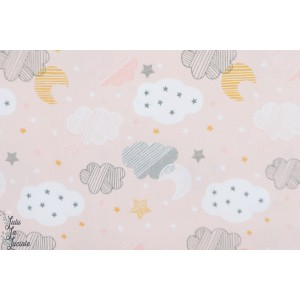Popeline Blend Starry Night Pink sweet dream layette nuit nuage rose