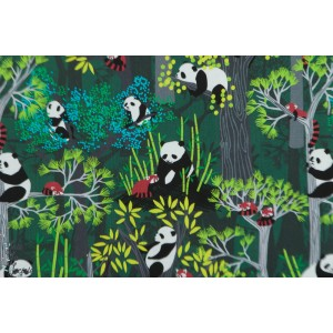Popeline Blend Bamboo Eaters Green - panda Forest animaux
