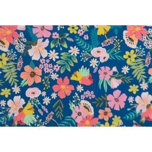 Popeline Blend Gardenara Navy - Floral Pets
