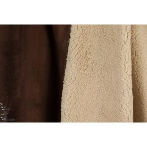 TISSU SUÉDINE DOUBLÉ FOURRURE BRUN sherpa teddy mouton manteau veste