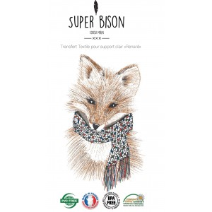 Transfert couture tissu SUPER BISON Renard, customisation