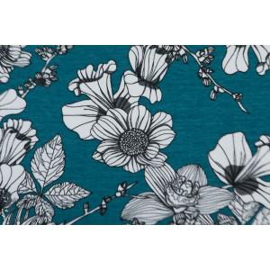 Jersey Bio Tygdrômmar Frideborg Lagoon fleur bleu ile femme mode