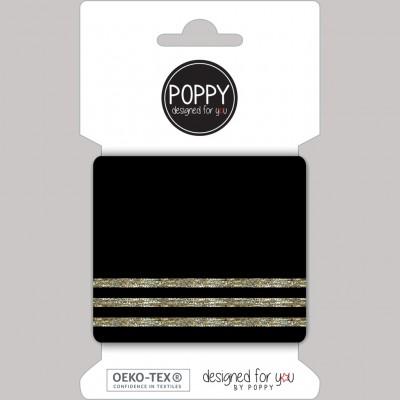 Cuff poppy Lurex noir/or bord cote pré coupé