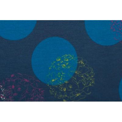 Modal Floral Dots Lillestoff graphique pois fleur bleu rond