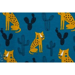 jersey Bio Panthère fond petrole  felin graphique animaux
