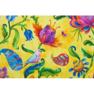 Jersey Digital Stenzo OIseaux fond jaune fleur ile tropique tropical