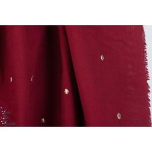 Double gaze Stardust Amarante  mode femme rouge graphique pois or brodée