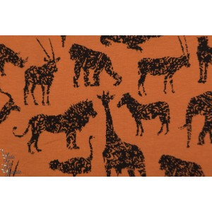 Jogging brossé Animaux Black / terracotta sweat afrique lion girafe