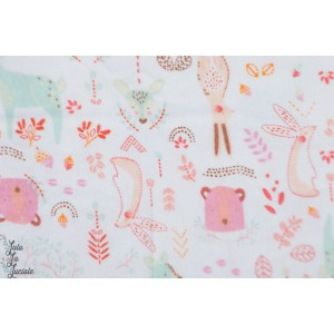 Bambou Flanelle Forest Friends in Péony animaux forêt layette bébé doux camelot fabric