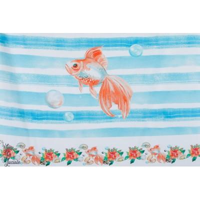 Panneau jersey Stenzo Dans mon aquarium poisson mer été rayure bleu