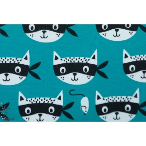 Sweat french Terry ninja Cats chat masqué graphique petrole