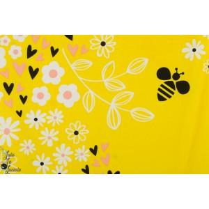 panneau Popeline Bee Happy abeille soleil jaune été timeless treasures