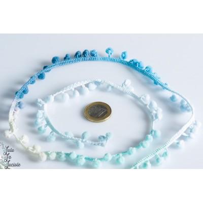 Galon Pompon dégradées bleu