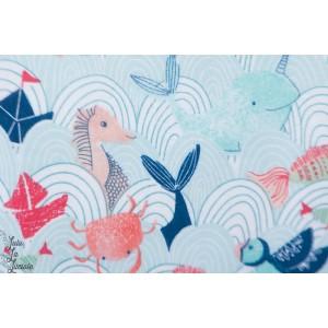 Flanelle ''Bateau sur l'eau'' 3 whishes fabric enfant bébé aniamux mer