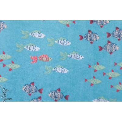Flanelle ''poissons dans l'eau'' 3 whishes bébé layette enfant mer bleu