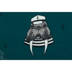 Sweat bio Bloome Captain Walrus Petrole animaux marin loup mer