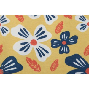 Jersey Bio Flower Power Gold Elvelyckan Design fleur orange bleu  rétro vintage